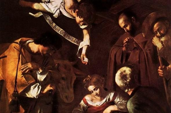 La-Natività-con-i-santi-Lorenzo-e-Francesco-dAssisi-capolavoro-del-Caravaggio-trafugato-nel-1969-particolare-590x391